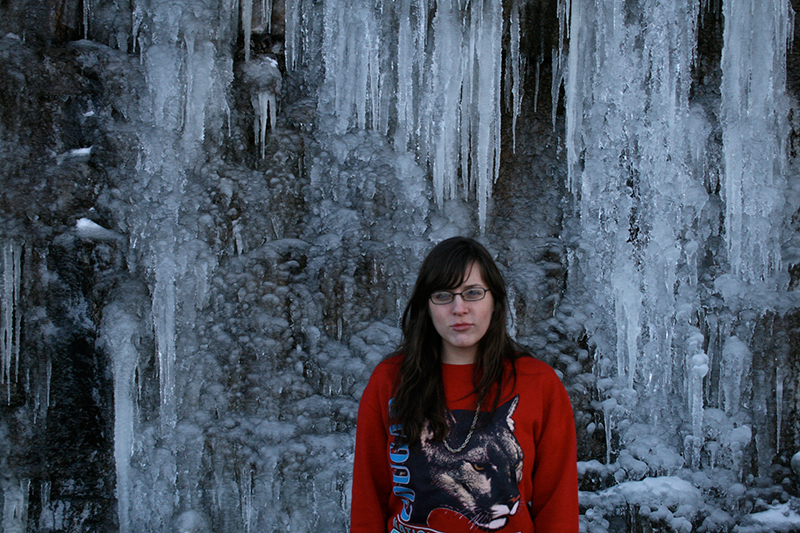 riley moore in front of icicle wall