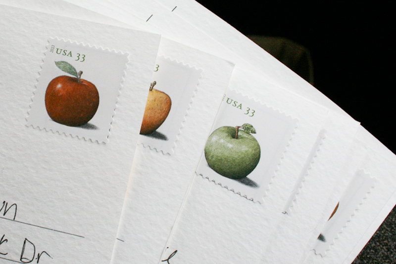 fruit postcard stamps