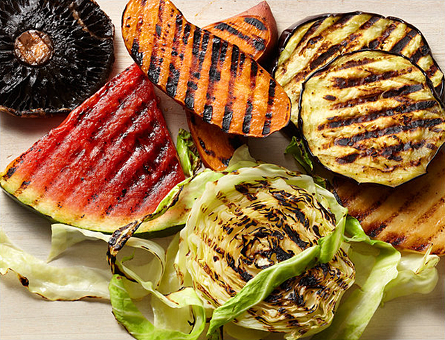 grilled watermelon and vegetables