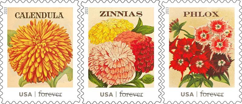 vintage seed packet stamps