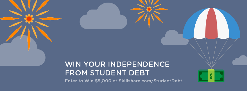 skillshare win to pay off student debt