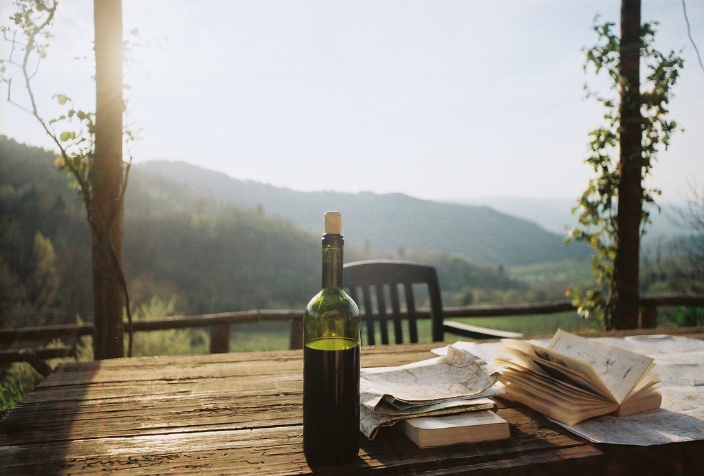 wine books and mountain views
