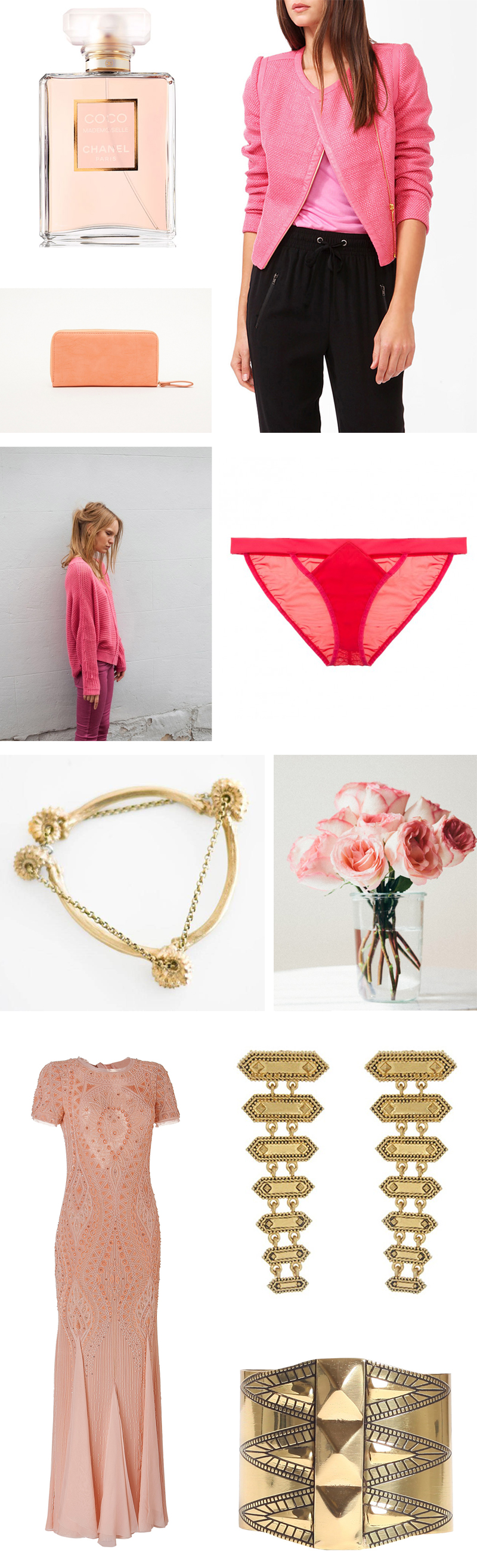 pink and gold mood board