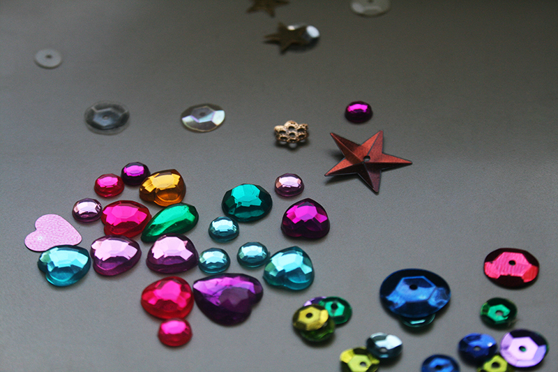 colorful sequin gems hearts stars
