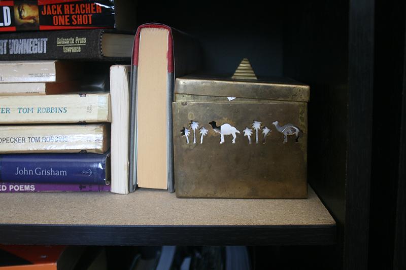bookshelf decor gold camel box