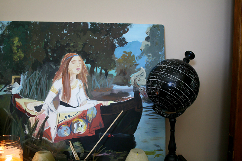 bookshelf decor lady of shalott black globe