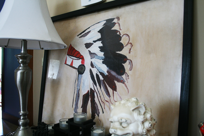 bookshelf decor headdress painting