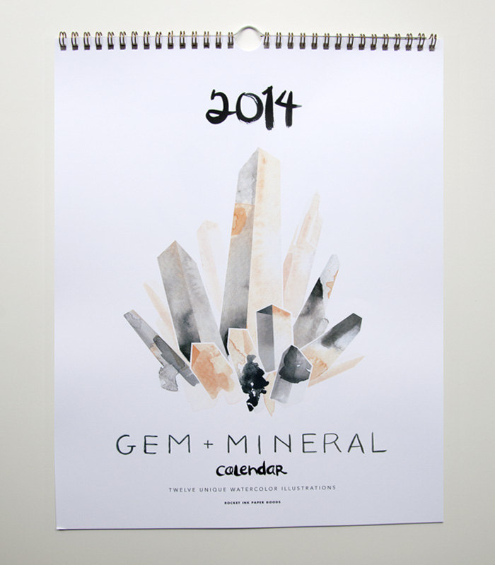 gem and mineral watercolor calendar