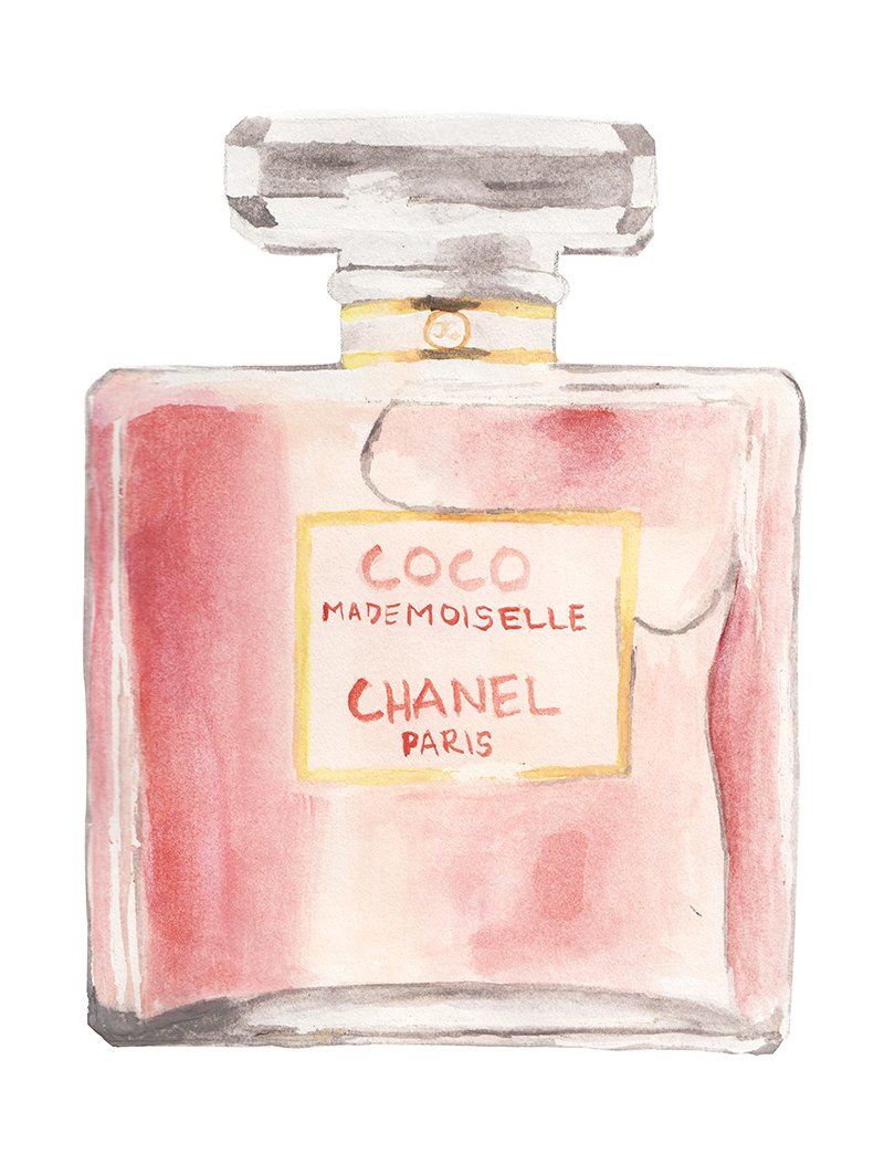illustrated coco chanel mademoiselle perfume bottle