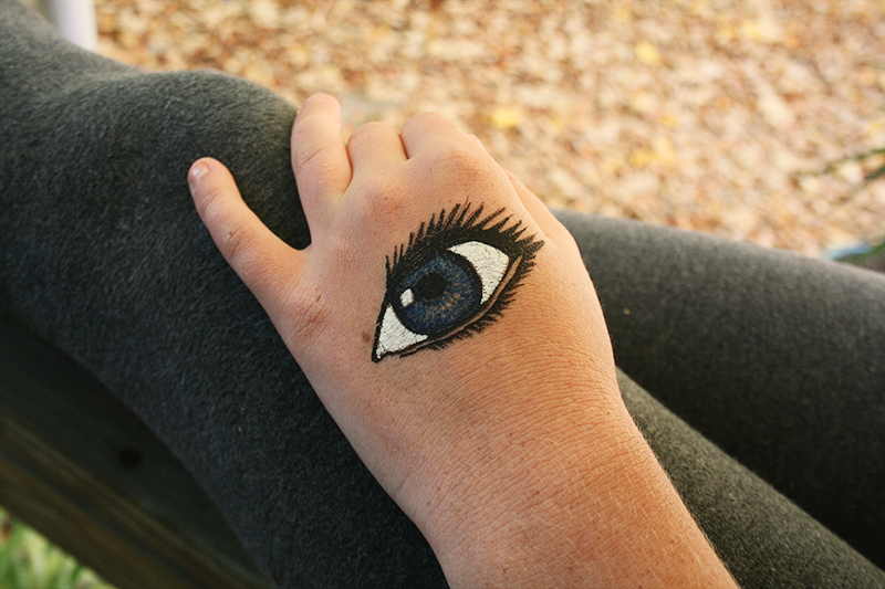 painted eye on hand