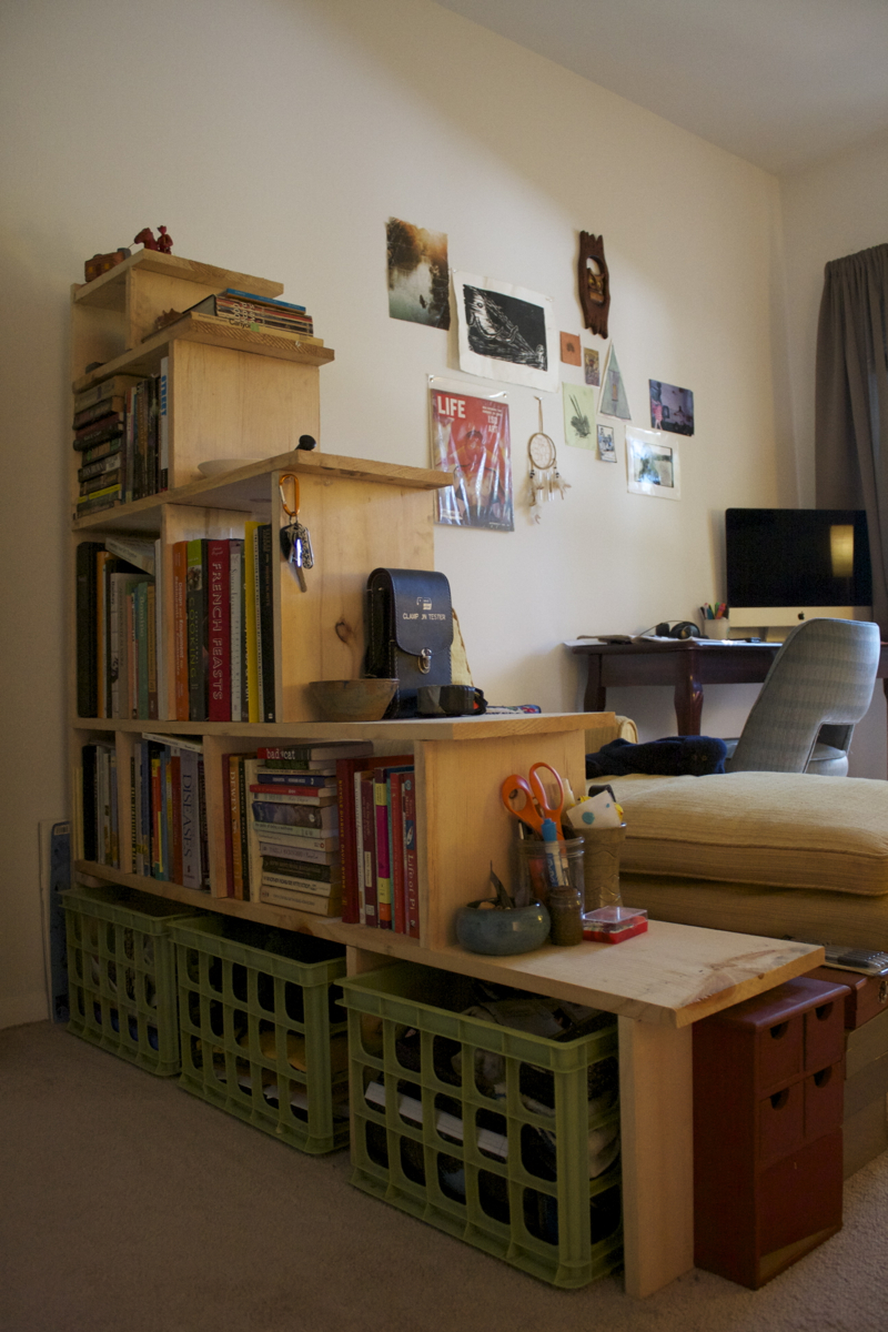 DIY bookshelf partition