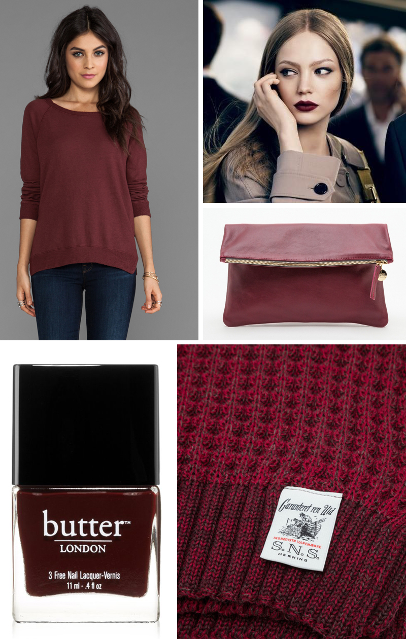 oxblood color mood board