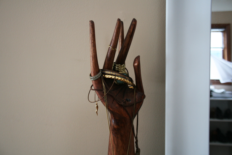 wooden hand jewelry holder