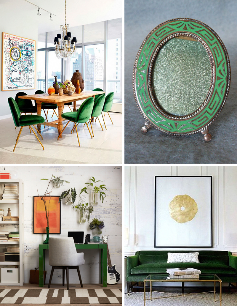 emerald green accents