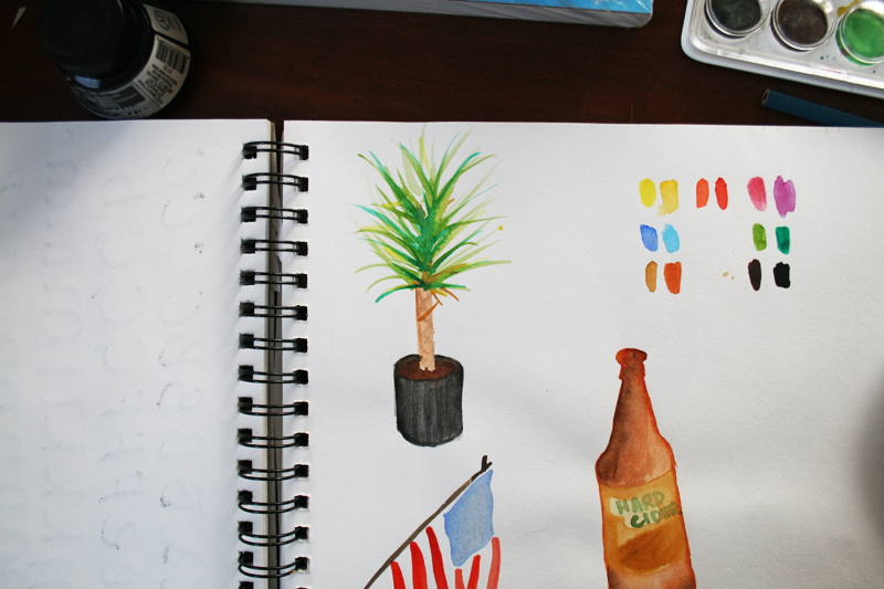 watercolor plant, colors, flag, and bottle