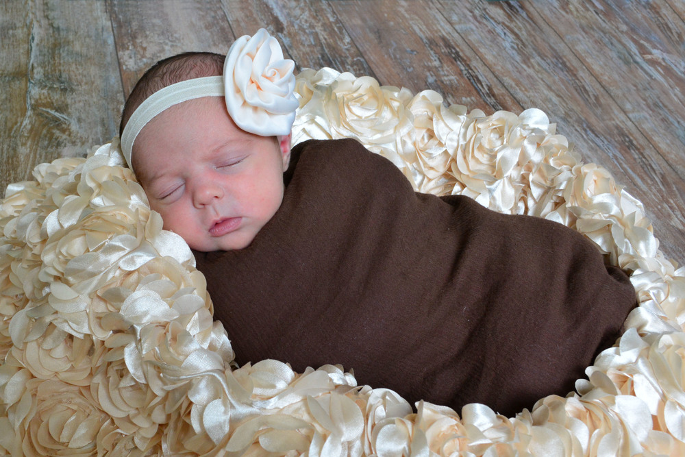 wrapped newborn girl Ashley's Perfect Prints