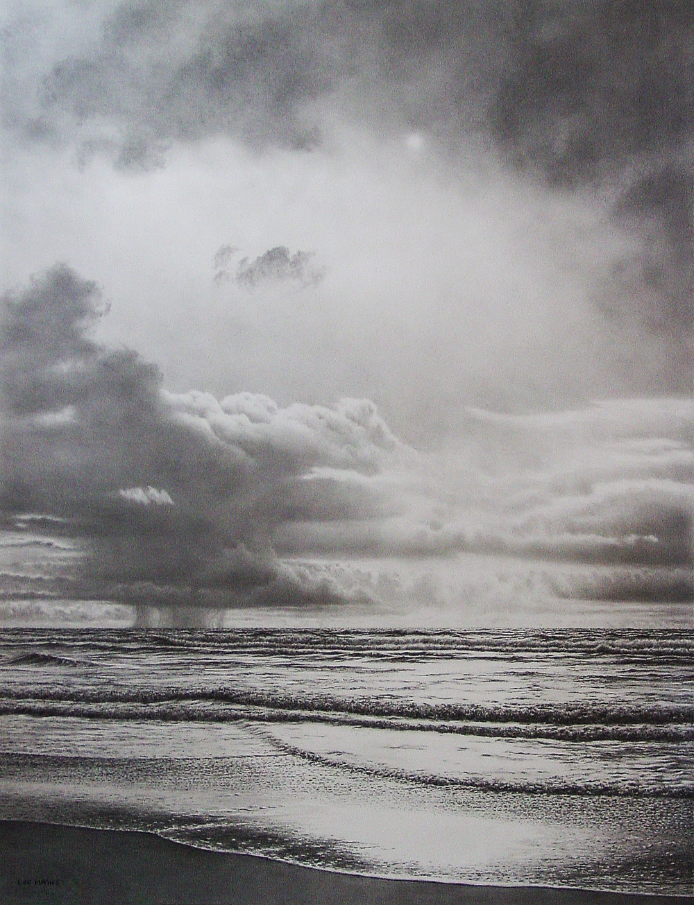 "Minor Squalls,  34"" by 26"" graphite pencil on Stonehenge paper"