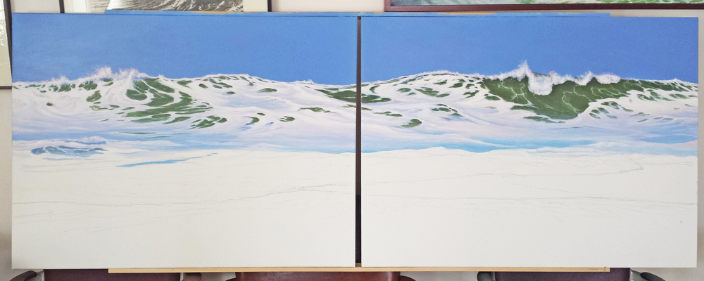 "A wave diptych - each canvas is 30"" by 40"""
