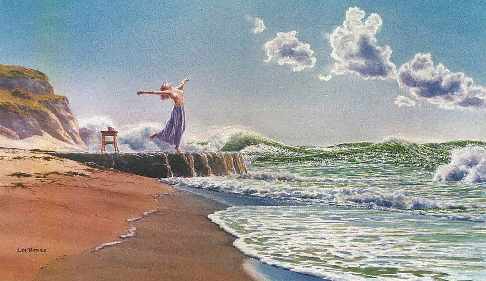 "The Wave Dance, 14"" by 19"" watercolor, 1996, private collection"