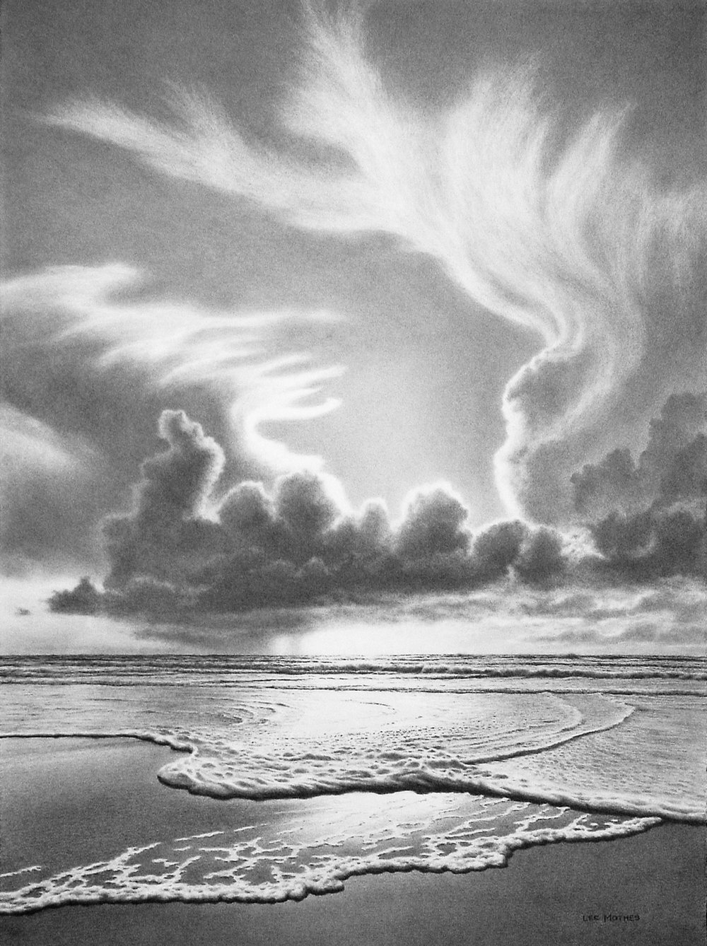 """Sky and Surf"", 30"" by 22"" graphite on rag paper - currently at Mud & Print Gallery"