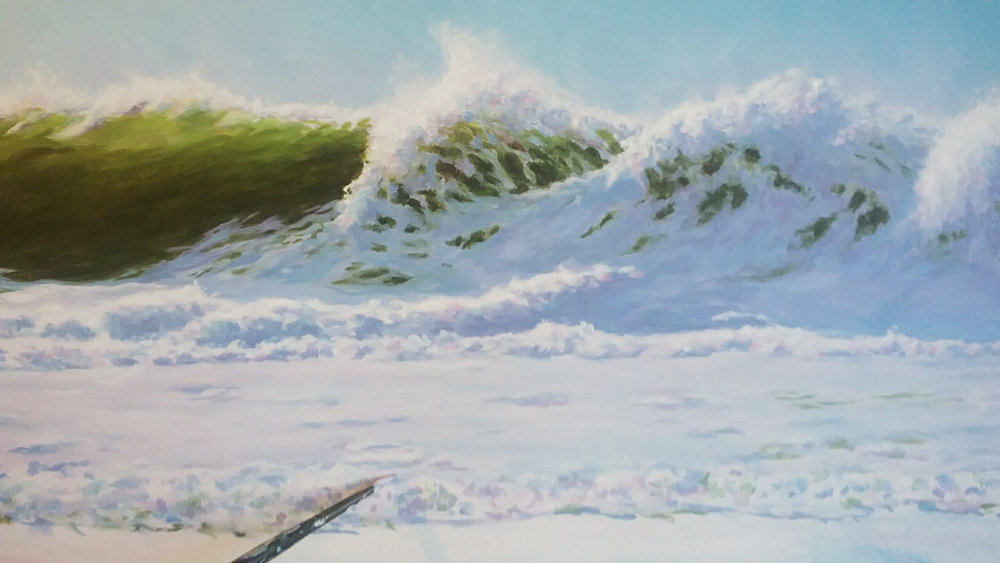 """Summer Surf"", a 24"" by 36"" acrylic on canvas is still in progress. I'm putting up pictures of its progress on Instagram:  @leemothes"
