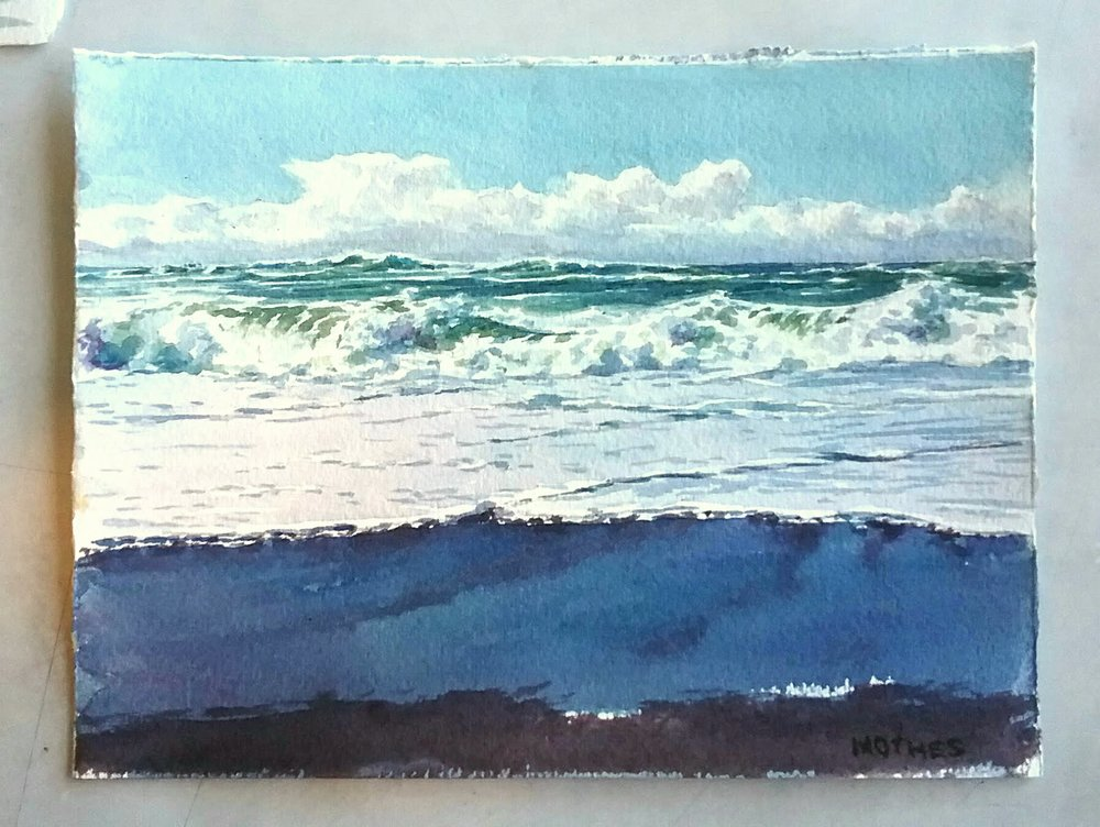 "Study of morning surf...6"" by 8"" watercolor"