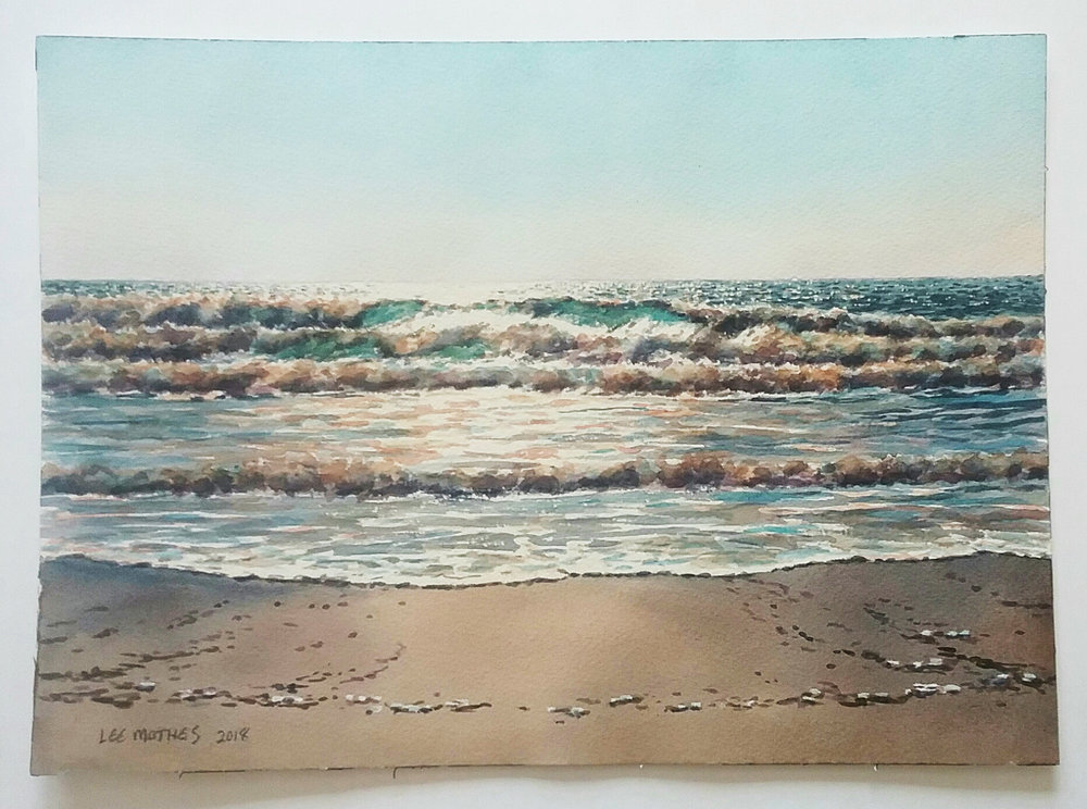 "Oregon Surf,  watercolor 11"" by 15"" unframed, $250."