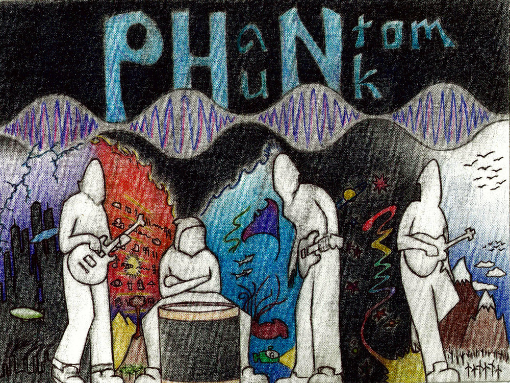 Phantom Phunk - Spacey. Art by Hector Alexander  Sketch from Spacey Music Video ( https://youtu.be/9i0ATUbOfBw ). The City, The Dessert Sands and Pyramids, The Deep Ocean and Space, and the Snowy Peaks of the Rockies.