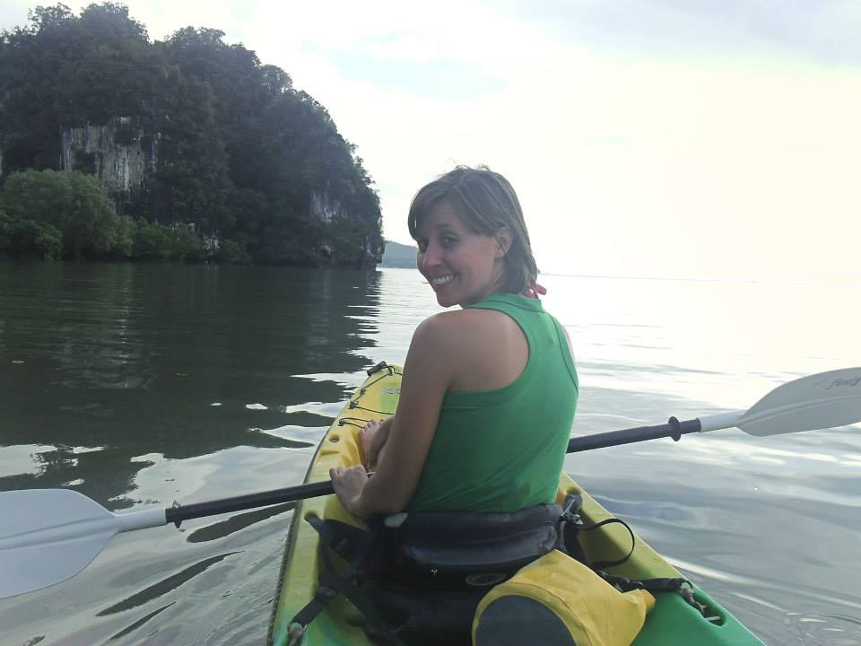 Kayaking off Railay Beach in Thailand.