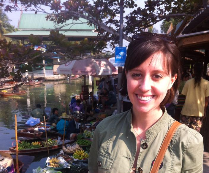 At the floating markets outside of Bangkok.