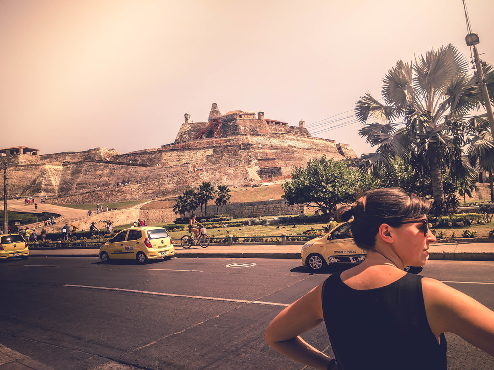 Cartagena- Jess in front of fort RTW.jpg