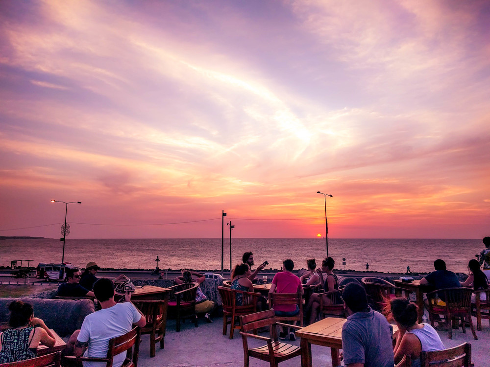 Cartagena- wall at sunset with bar patrons RTW.jpg