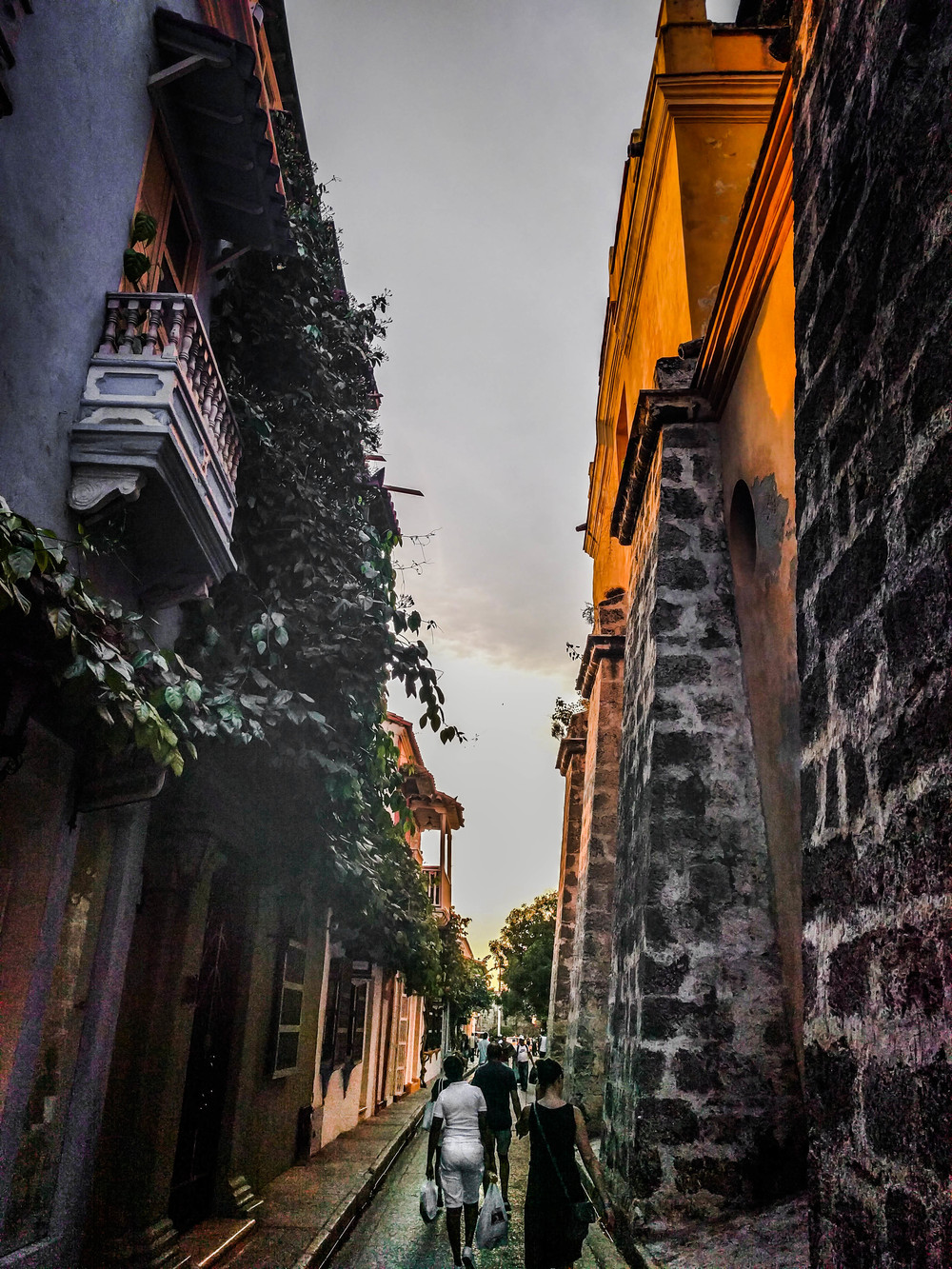 Cartagena- walking to wall buildings on each side RTW.jpg