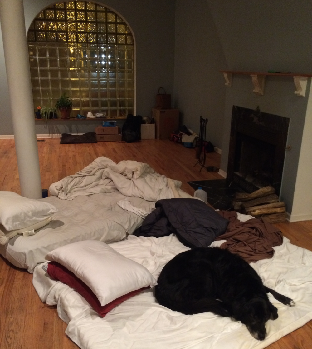 On our last night in our apartment, we slept on the floor in front of the fire.