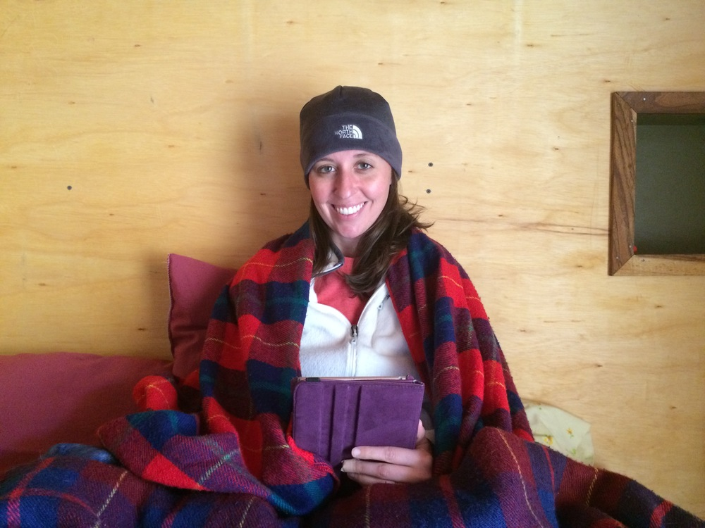 Bundled up in our loft apartment in Ecuador.