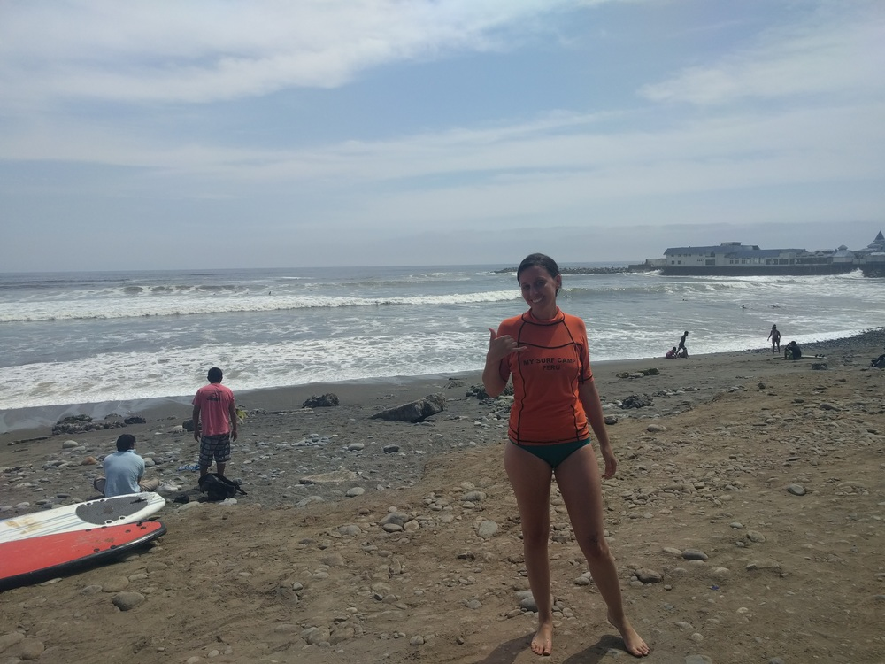 Learning to surf in Lima.