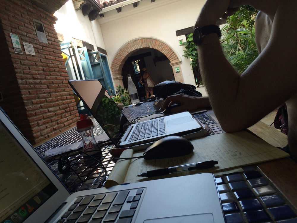 Working in our hostel in Cartagena, Colombia.