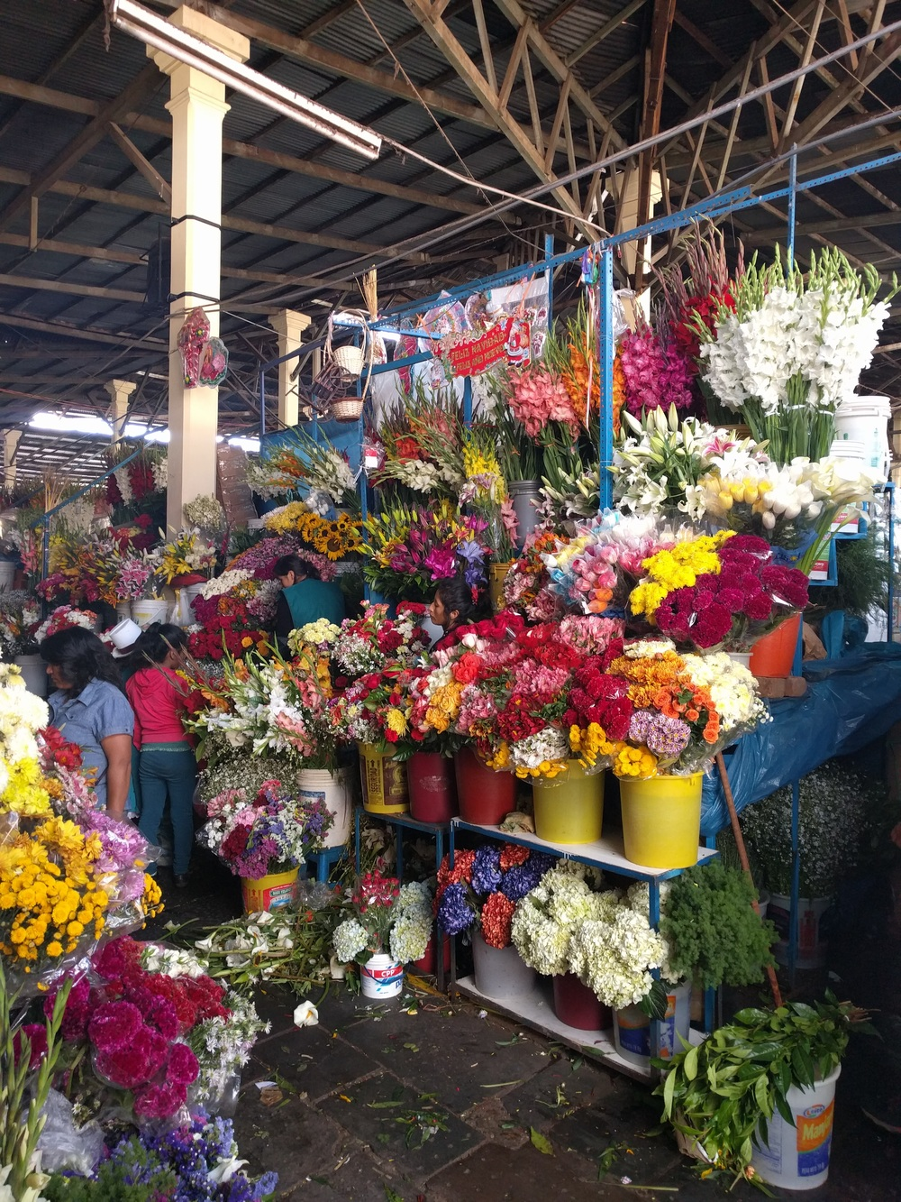 The flower market in Cusco.