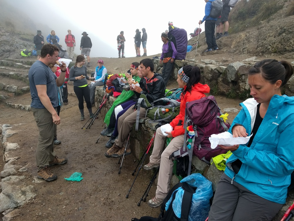 Having a snack and coca tea at the top on Day 2.