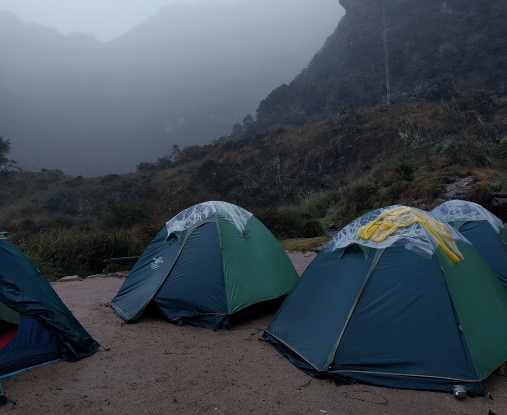 Our very wet and chilly camp
