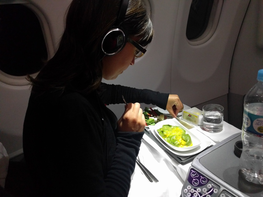 Having dinner in business class