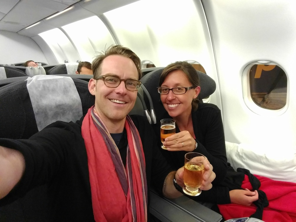 Jess and I enjoying champagne on our flight from Sao Paolo to Johannesberg