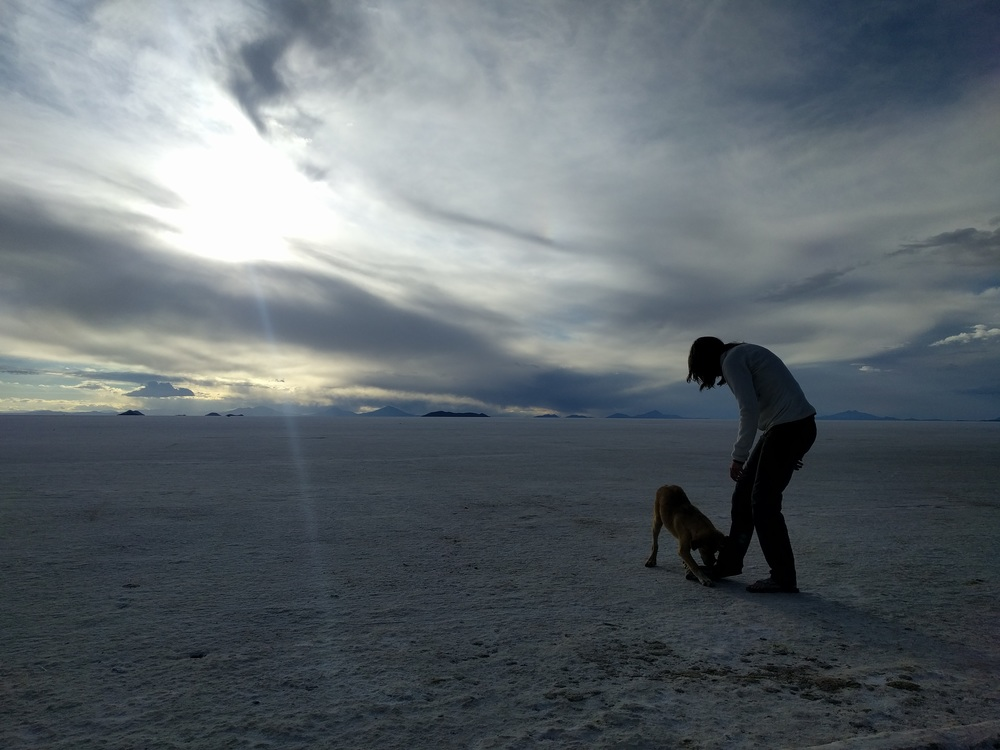 Even in the middle of the largest salt pan in the world, Jess can find a stray dog to play with.