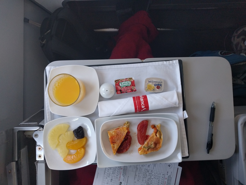 La Paz to Capetown: Avianca First Class Food
