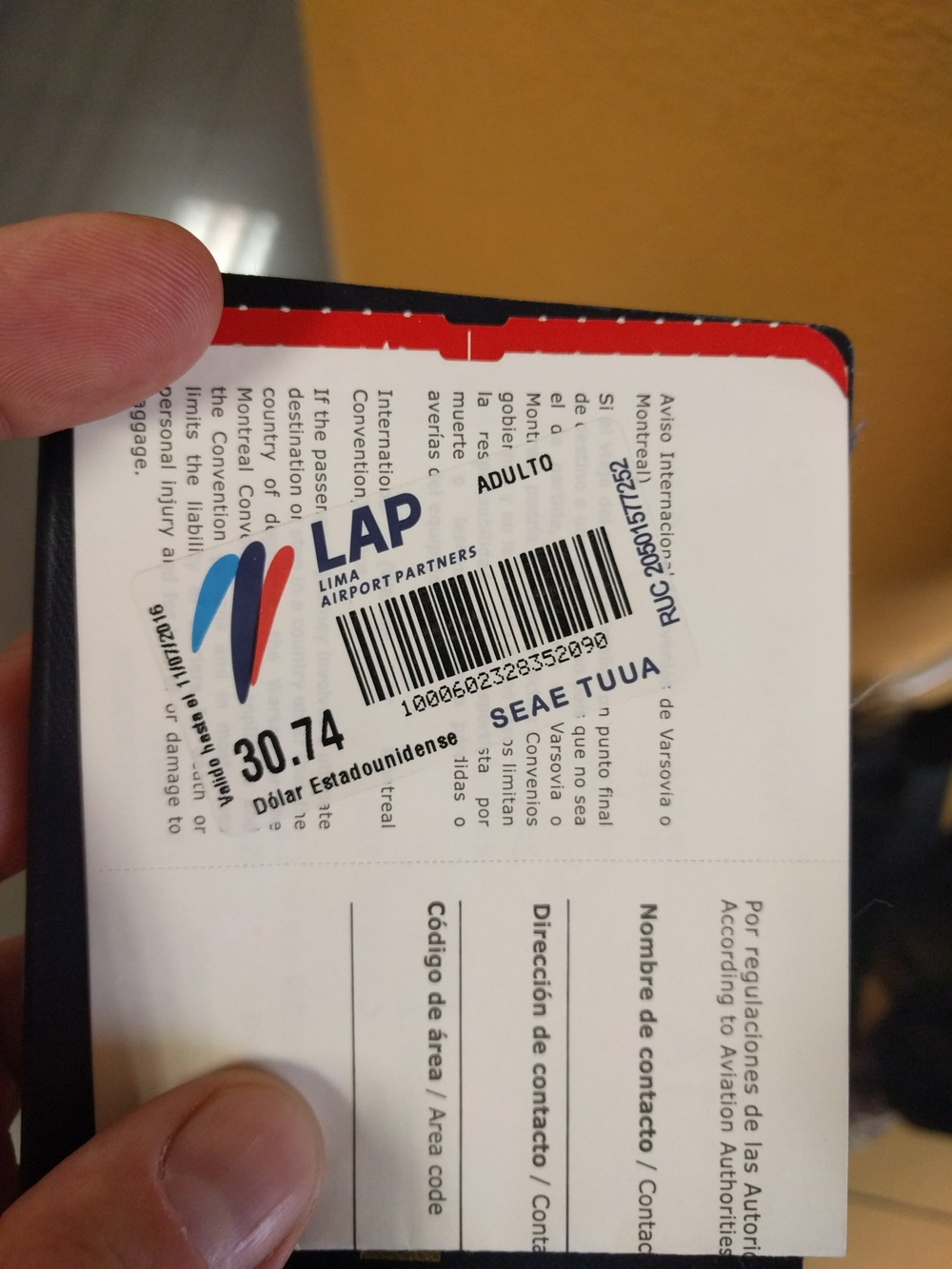 If you exit the airport during a long layover in Lima, you'll have to pay $30.74 US at the LAP desk next to security.