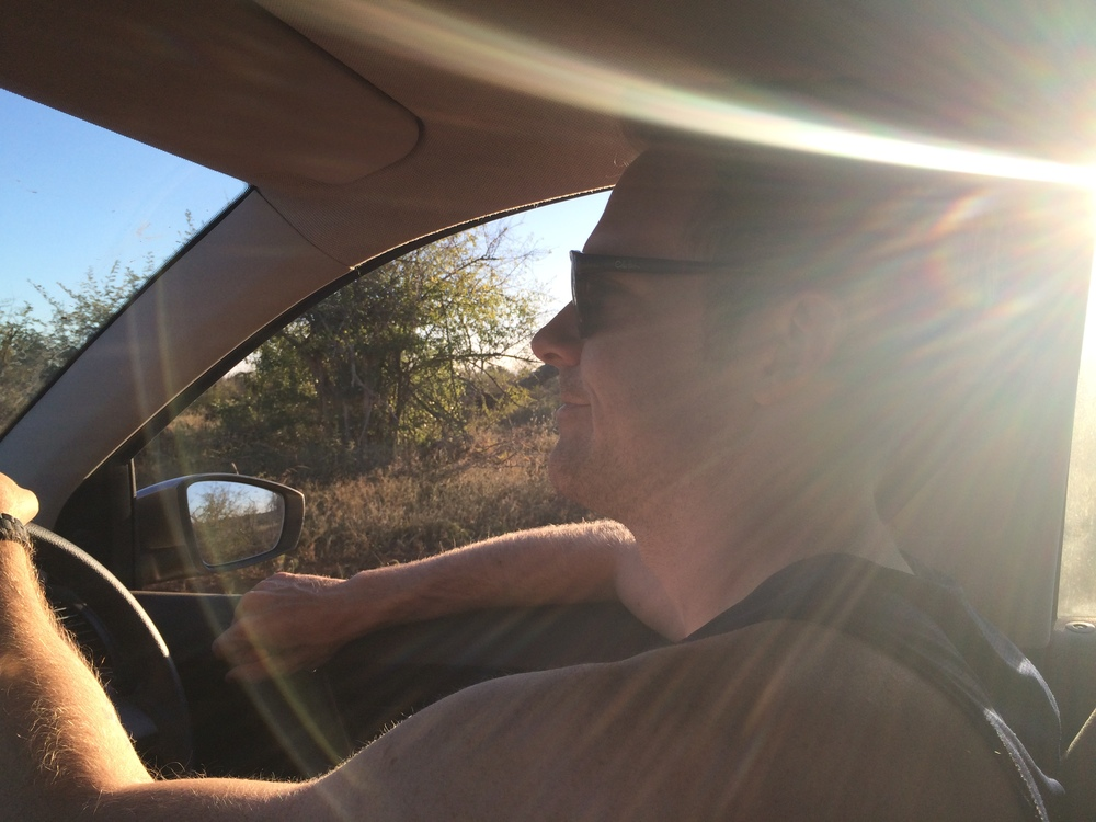 Nate driving in Botswana