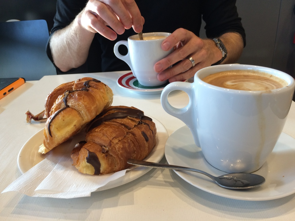 Cappuccino and croissants in Rome.