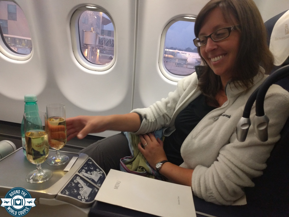 South African Airlines Business Class Sao Paolo to Johannesburg Champagne
