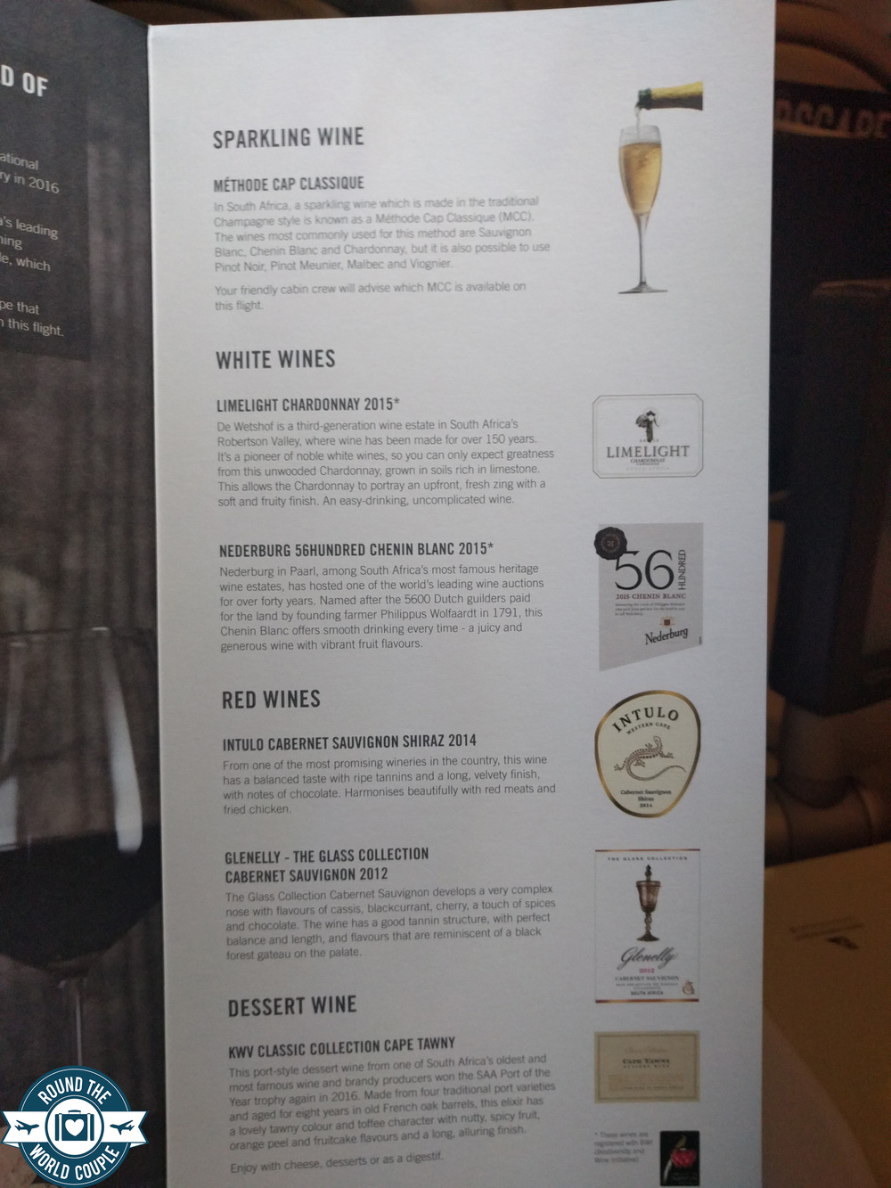 South African Airlines Business Class Sao Paolo to Johannesburg Drink Menu