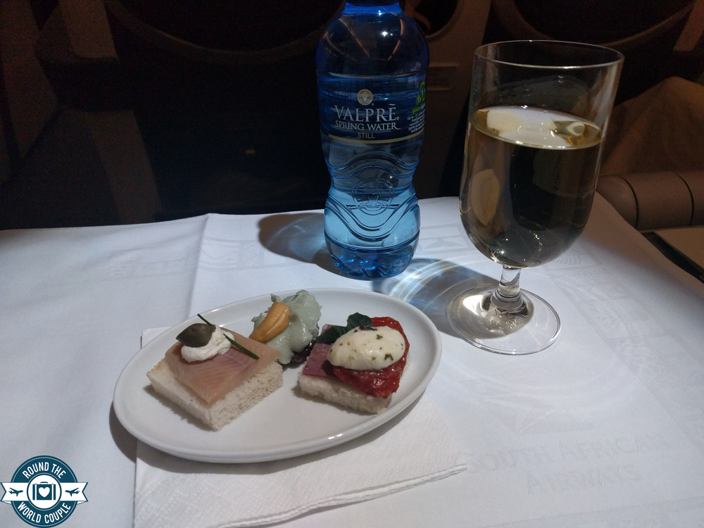 South African Airlines Business Class Sao Paolo to Johannesburg canapes